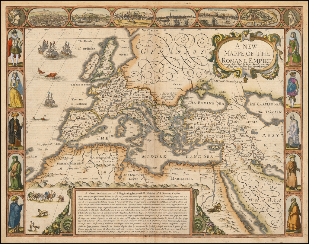 A New Mappe Of The Romane Empire . . . 1626 By John Speed