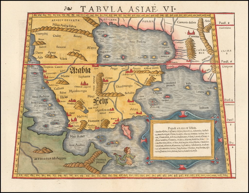 Tabula Asiae VI [Arabia and Persian Gulf] By Sebastian Münster