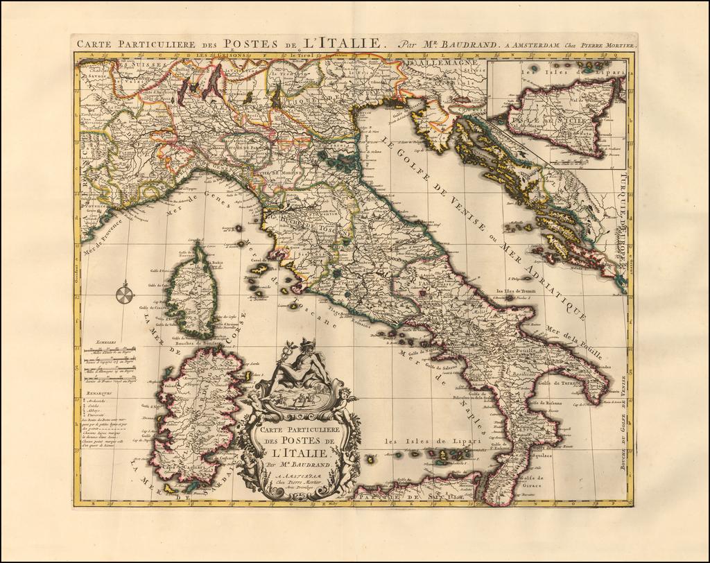 Carte Particuliere des Postes de L'Italie. Par Mr. Baudrand. By Pieter Mortier
