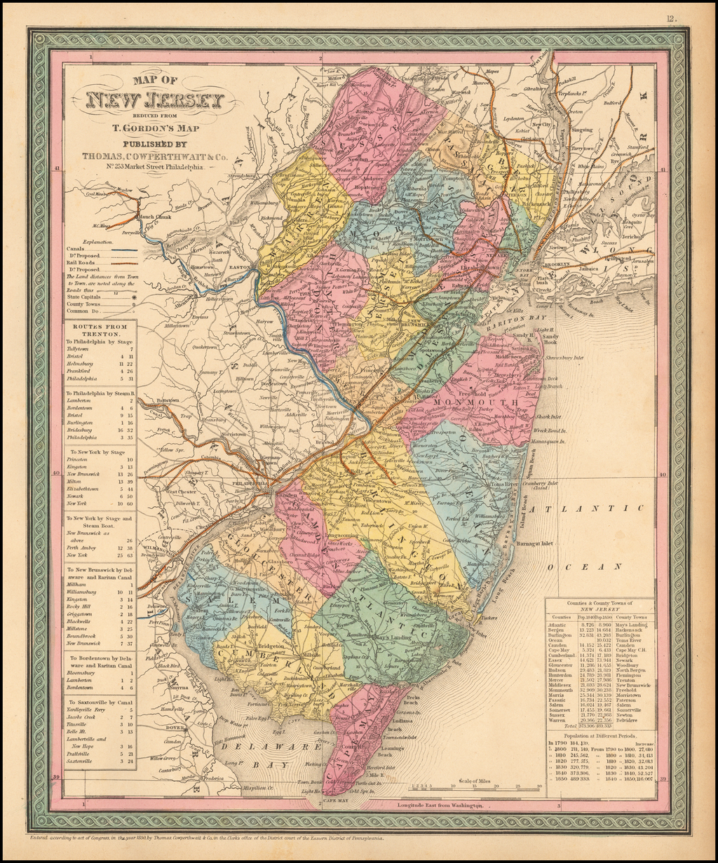 Map Of New Jersey Compiled From The latest authorities….. By Thomas, Cowperthwait & Co.