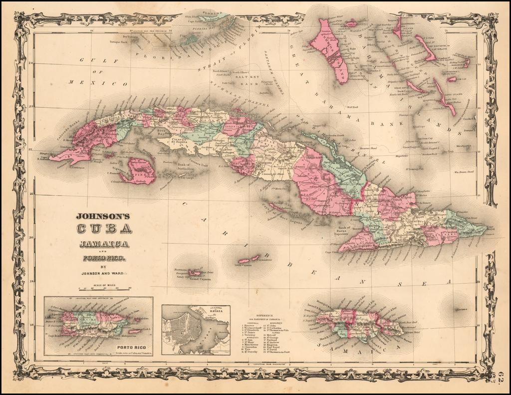 Johnson's Cuba Jamaica and Porto Rico By Benjamin P Ward  &  Alvin Jewett Johnson
