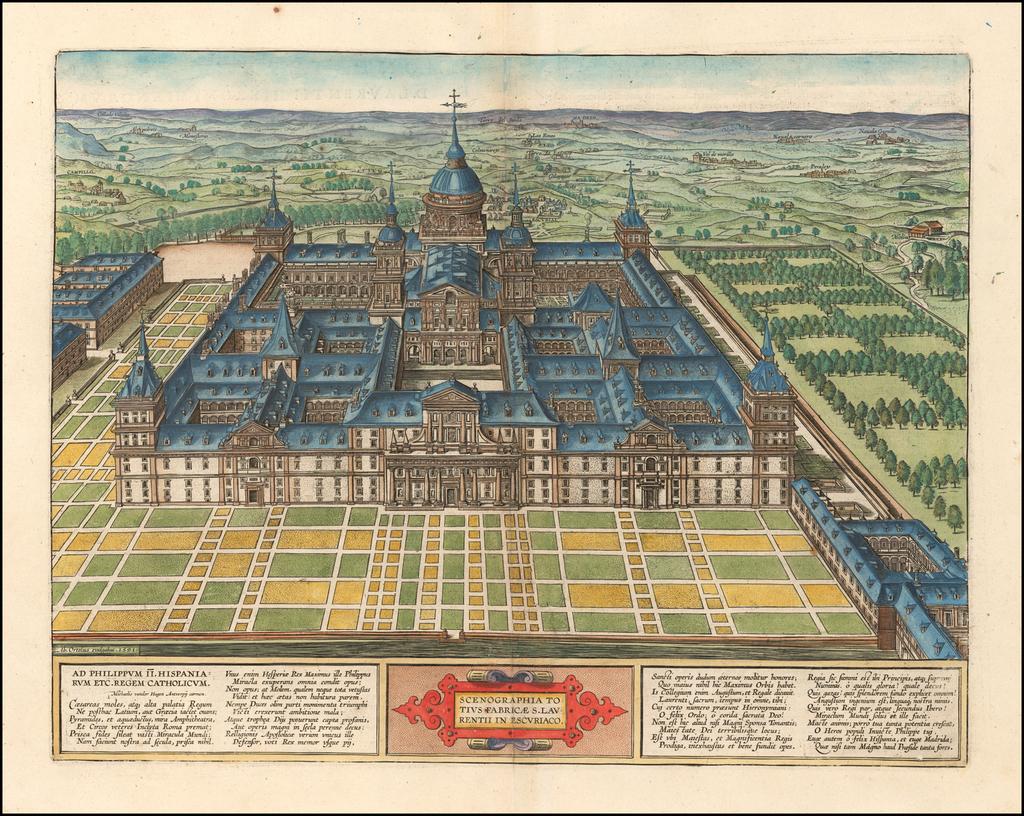 Scenographia Totius Fabricae S. Laurentii In Escoriali By Abraham Ortelius / Johannes Baptista Vrients
