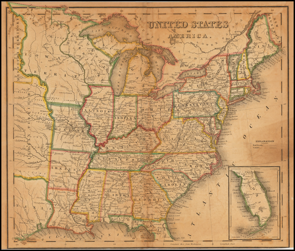 United States of America (massive Iowa Territory) By Henry Schenk Tanner