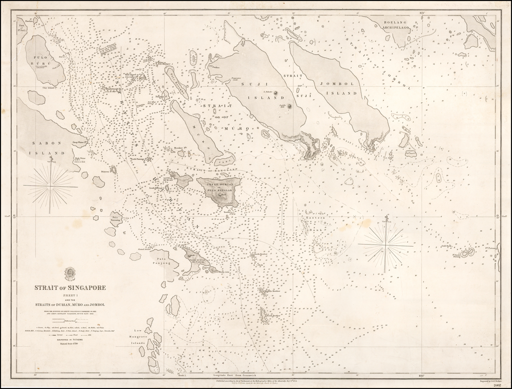 Strait of Singapore  Sheet 1  and the Straits of Durian, Muro and Jombol From the Surveys of Lieuts. Collinson & Moresby in 1822 and Lieut. Dittloff, Tjassens, Dutch Navy 1843. By British Admiralty