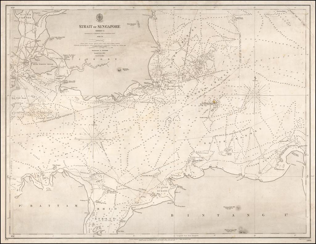 Strait of Singapore  Sheet 3 Surveyed by J.T. Thomson Esq. Government Survr.  1846-54. By British Admiralty