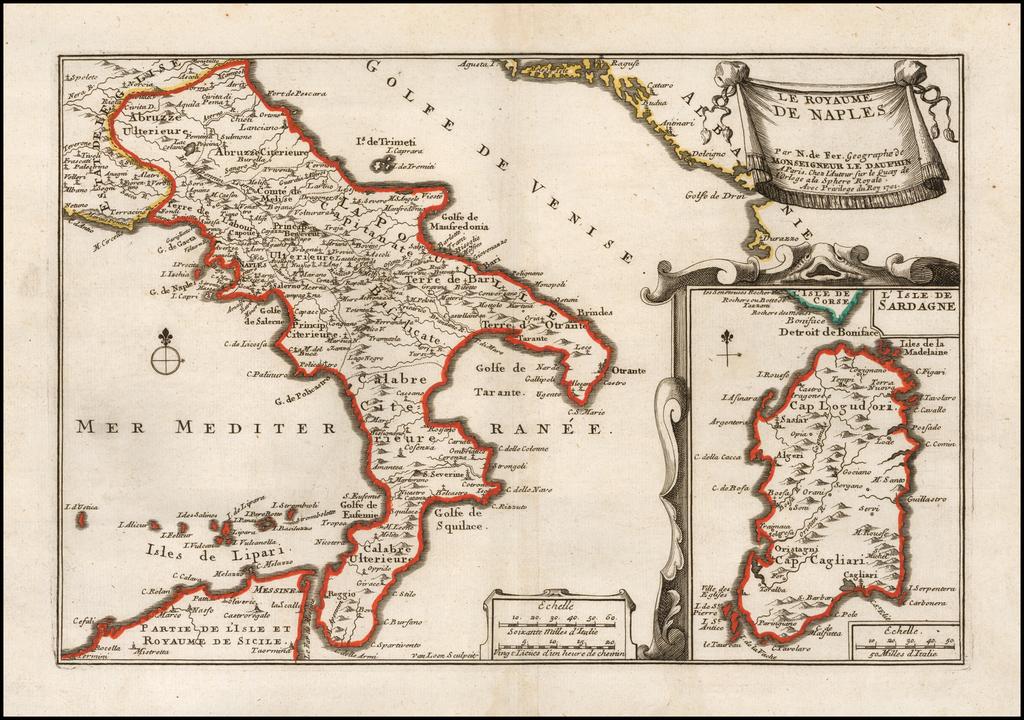 Les Royaume De Naples . . .1702  [Includes  Sardinia] By Nicolas de Fer
