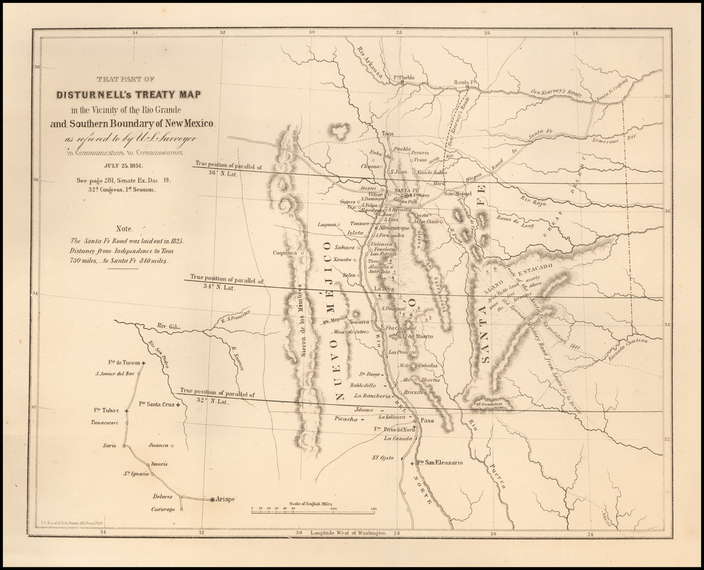 That Part Of Disturnell's Treaty Map in the Vicinity of the Rio Gande and Southern Boundary of New Mexico . . . July 25, 1851 By U.S. Government