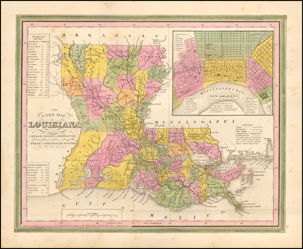 A New Map of Louisiana with its Canals, Roads & Distances.  H.S. Tanner.  (inset map of New Orleans) By Henry Schenk Tanner