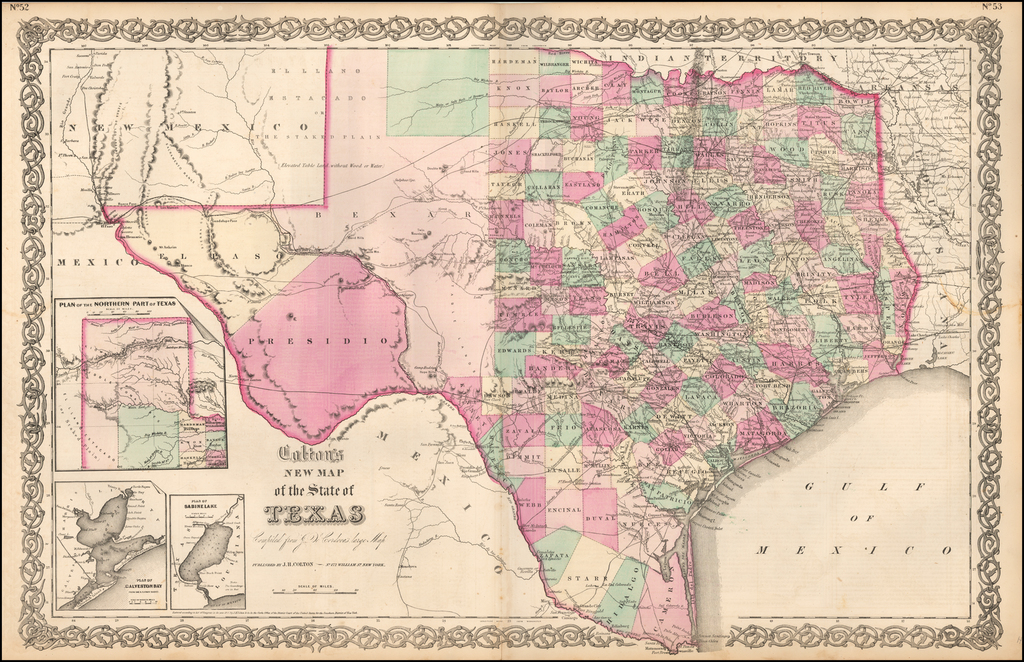Colton's New Map of the State of Texas Compiled From De Cordova's Large Map By Joseph Hutchins Colton
