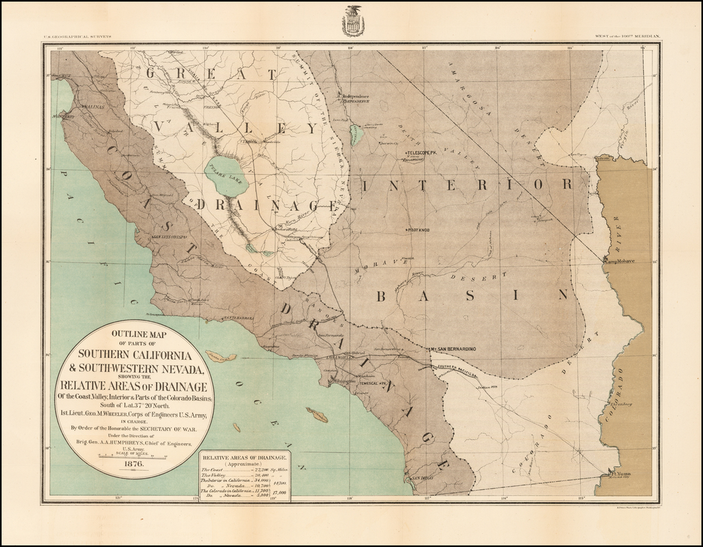 Outline Map of Parts of Southern California & South-Western Nevada, Showing the Relative Areas of Drainage Of the Coast, Valley, Interior & Parts of the Colorado Basin . . . .1876 By