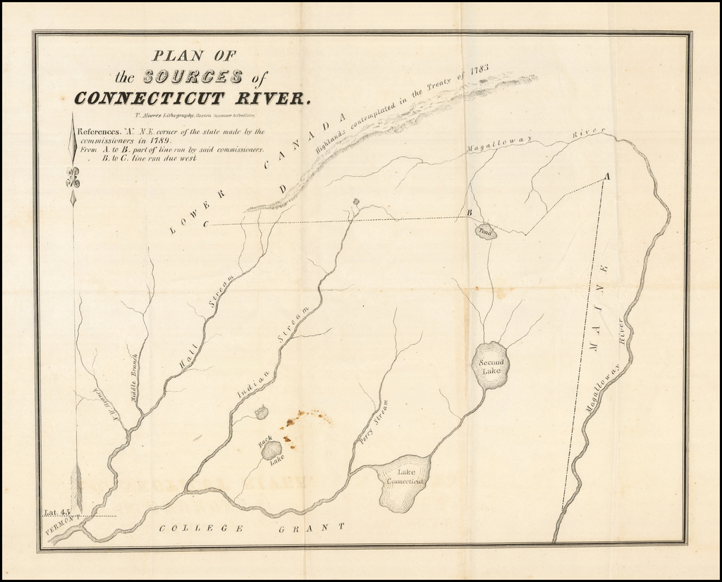 [Indian Stream Republic Report and Map] Plan of the Sources of Connecticut River (With Report of the Commissioners To Indian Stream) By T. Moore's Lithography
