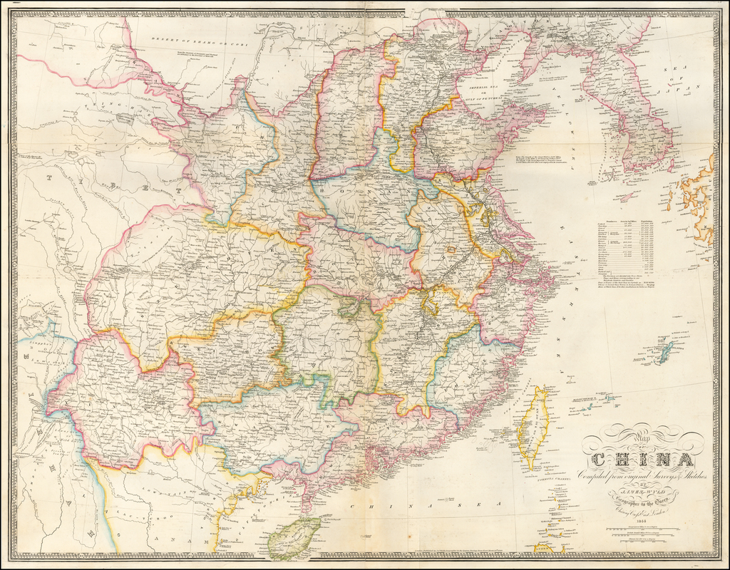 Map of China Compiled from original Surveys & Sketches . . . 1844 By James Wyld