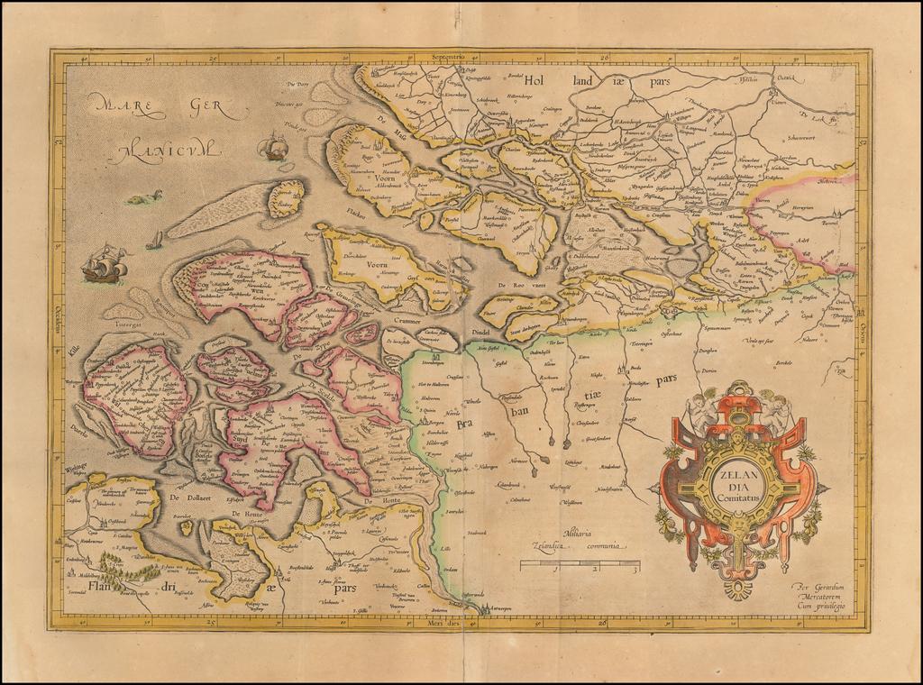 Zelandia Comitatus    By  Gerard Mercator