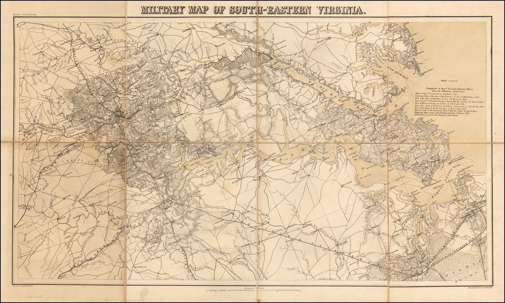 Military Map of South-Eastern Virginia By Adolph Lindenkohl