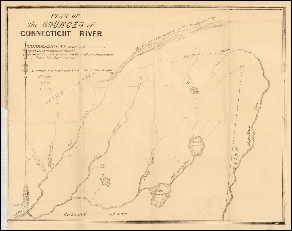 [Indian Stream Republic Report and Map] Plan of the Sources of Connecticut River (Claim of New Hampshire (To accompany bill H.R. No. 1038 ) By United States GPO