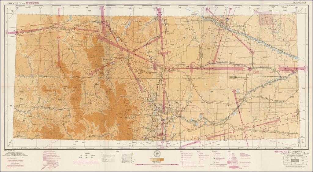 (Restricted) Cheyenne . . . Sectional Aeronautical Chart  By U.S. Coast & Geodetic Survey