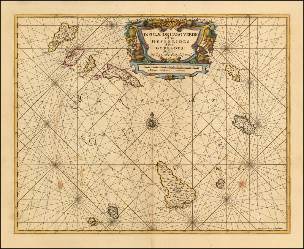 (Cape Verde Islands)  Insulae de Cabo Verde Olim Hesperides, Sive Gorgades Begice de Toute Elanden. By Peter Schenk  &  Gerard Valk