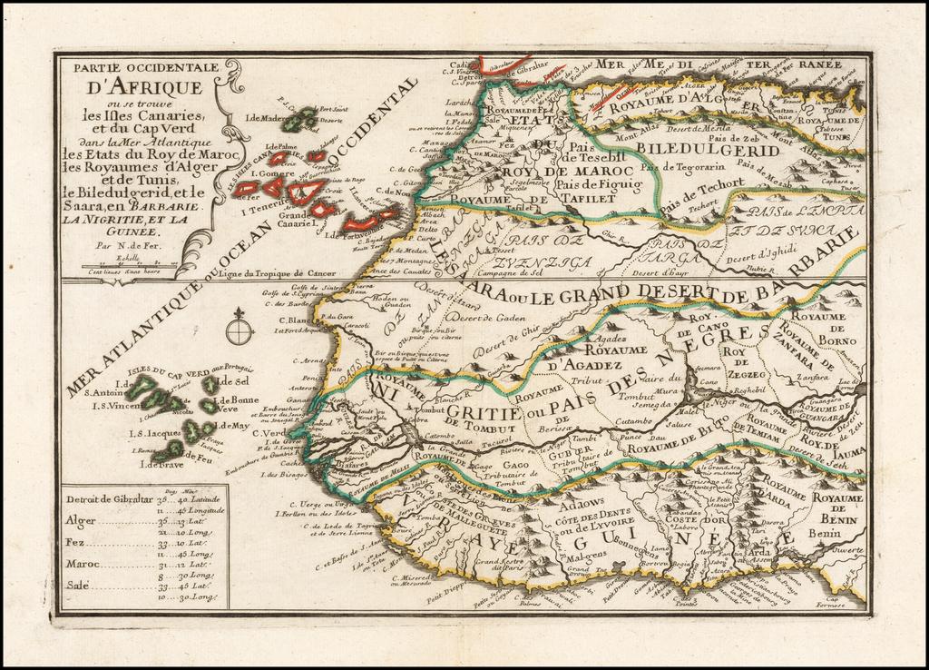 Partie Occidentale D'Afrique ou se trouve des Isles Canaries, et du Cap Ver dans la Mer Atlantique des Etats du Roy de Maroc, des Royaumes d'Alger et de Tunis, de Bilddulgerid, et le Saara, en Barbarie, La Nigritie, et la Guinee By Nicolas de Fer