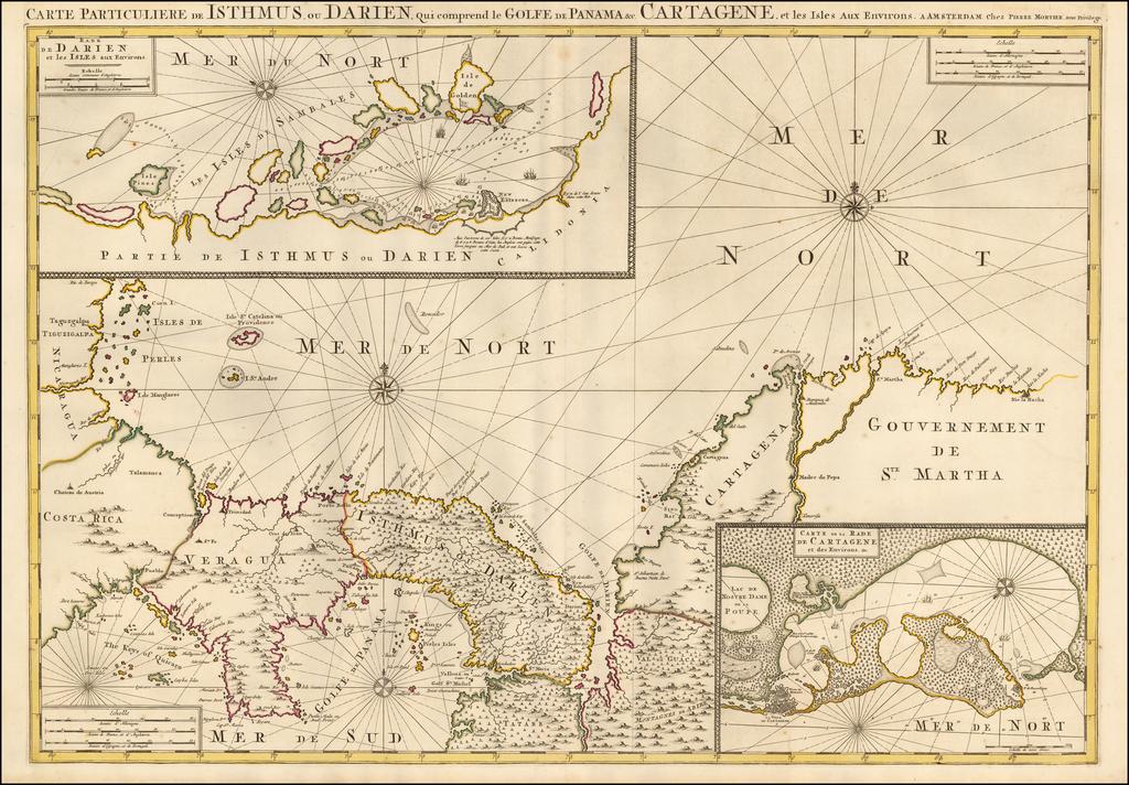 (Panama and Colombia)  Carte Particuliere de Isthmus ou Darien qui Comprend le Golfe de Panama &c. Cartagena, et les Isles aux Environs (Cartagena and Darien Insets) By Pieter Mortier