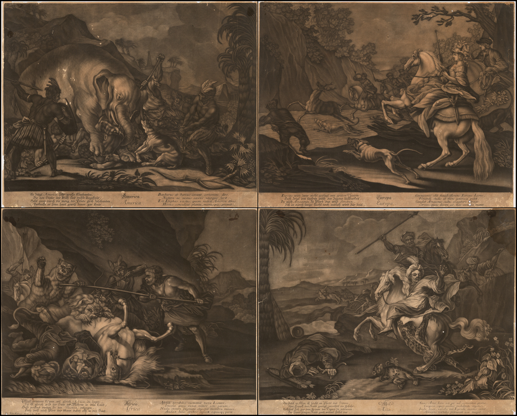 [Set of Four Allegorical Mezzotints of the Continents -- With a Mastodon!] America. Europa. Africa. Asia. By Johann Elias Ridinger
