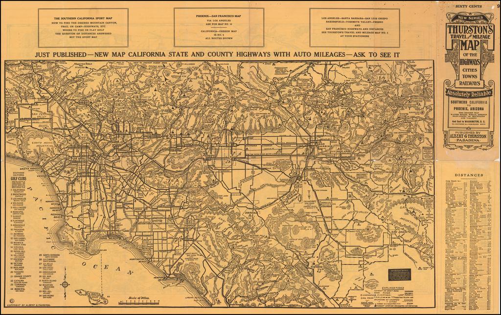 Thurston's Auto - Highway , Mountain and Desert Map Showing Towns, Railways, and Waterholes Between Grand Canyon, Williams, Prescott, Barstow, Riverside, San Bernardino, San Diego, Yuma and Phoenix . . .   By George H.  Rock