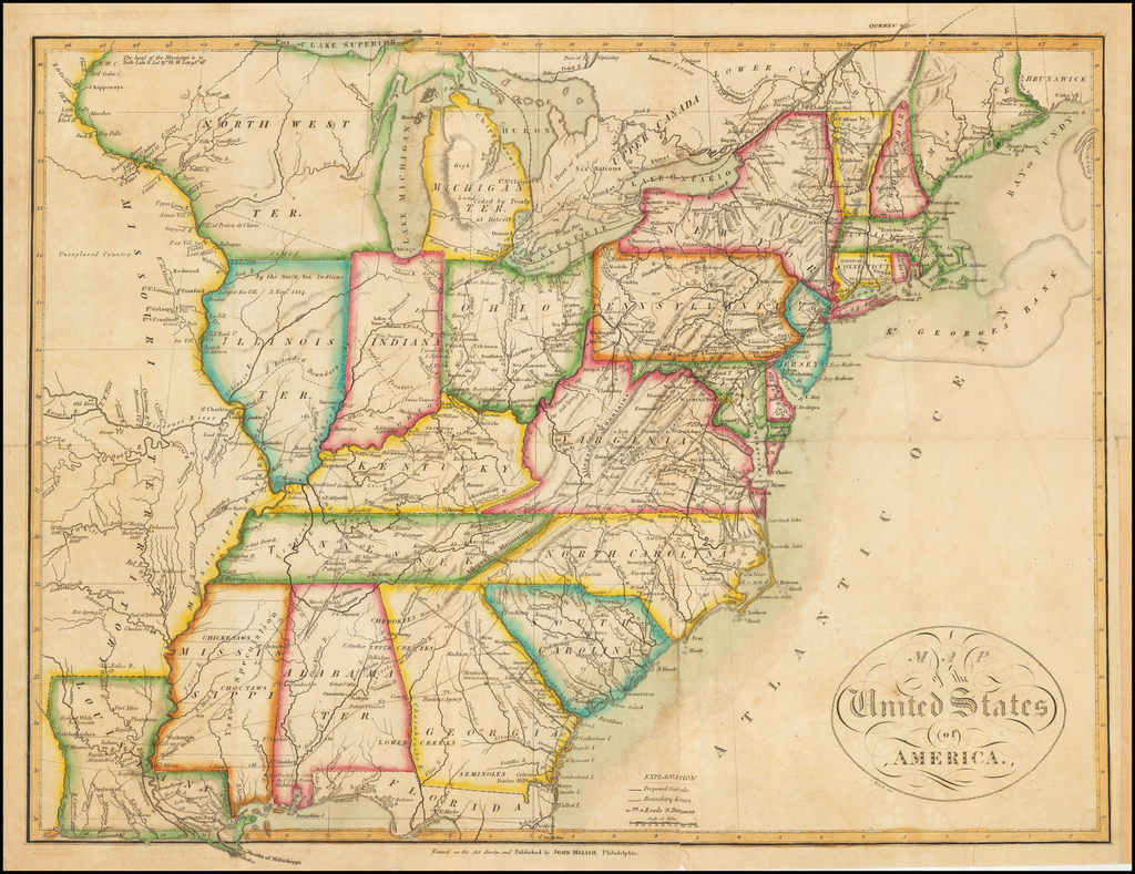 Map of the United States of America.   By John Melish