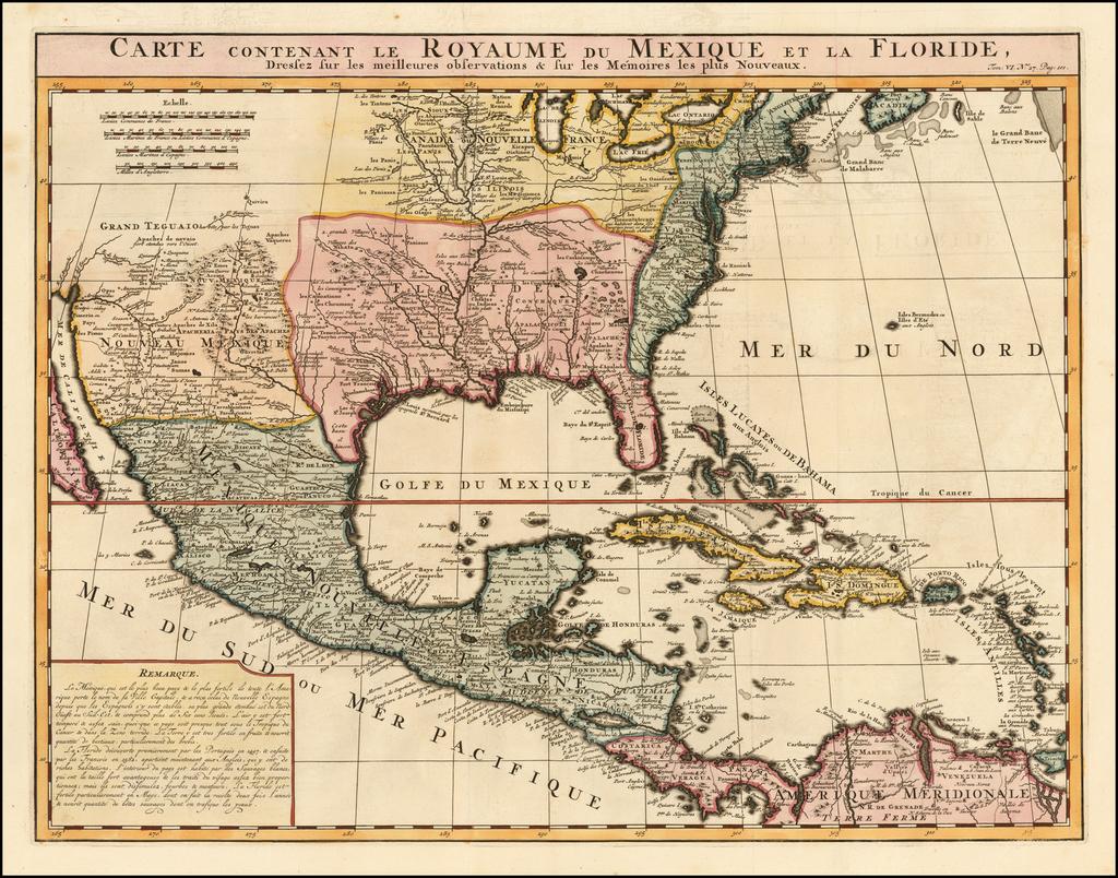 Carte Contenant Le Royaume Du Mexique Et La Floride, Dressez sur les meilleures observations & sur les Memoires les plus Nouveaux By Henri Chatelain