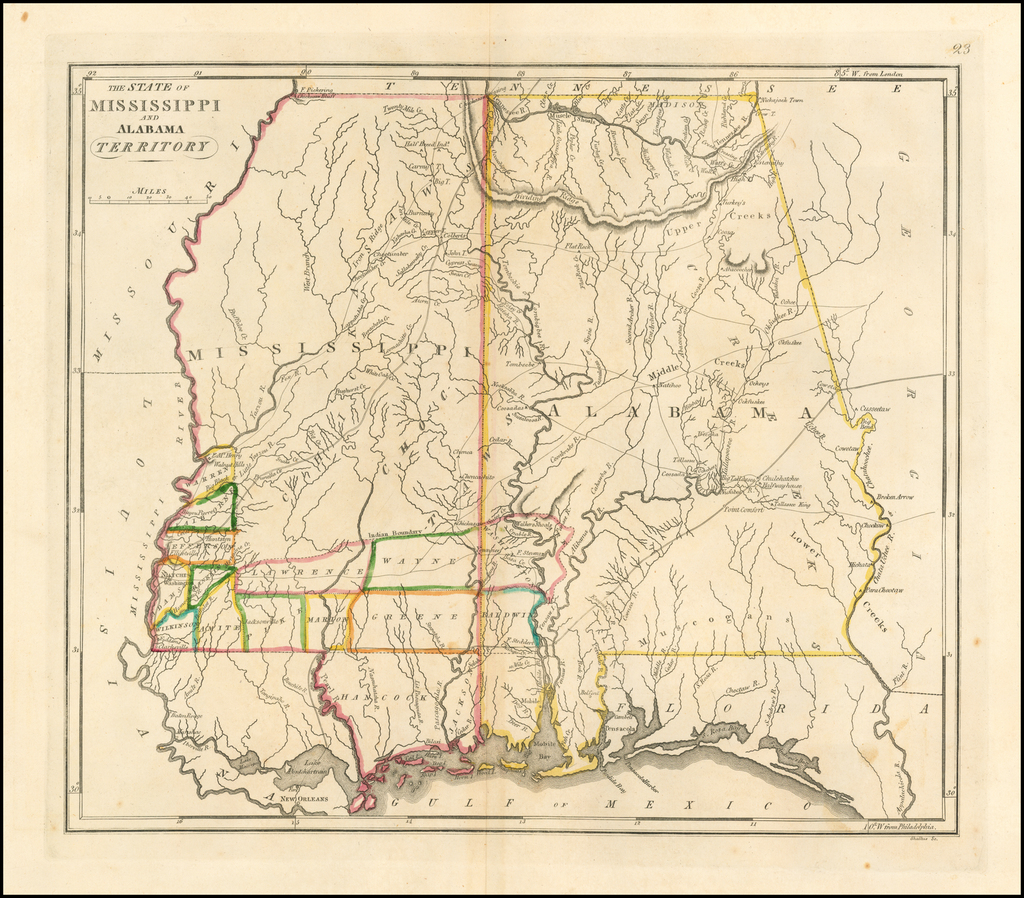 The State of Mississippi and Alabama Territory By Matthew Carey