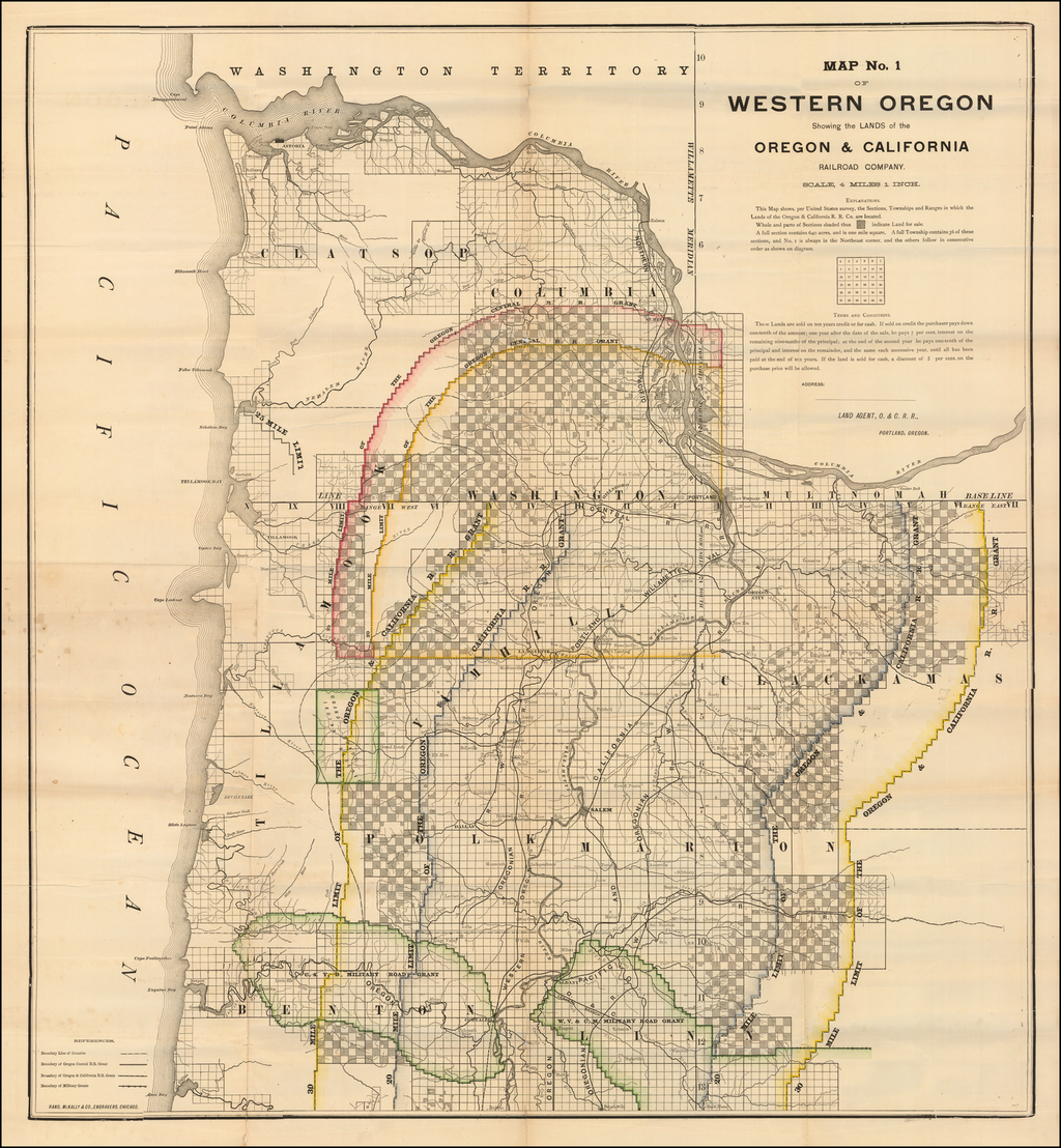 Map No. 1 of Western Oregon Showing the Lands of the Oregon & California Railroad Company . . . By Oregon & California Railroad Company