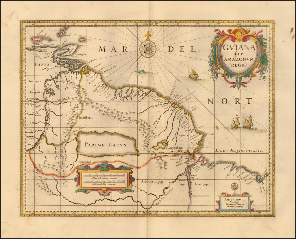 Guiana sive Amazonvm Regio   By Peter Schenk  &  Gerard Valk