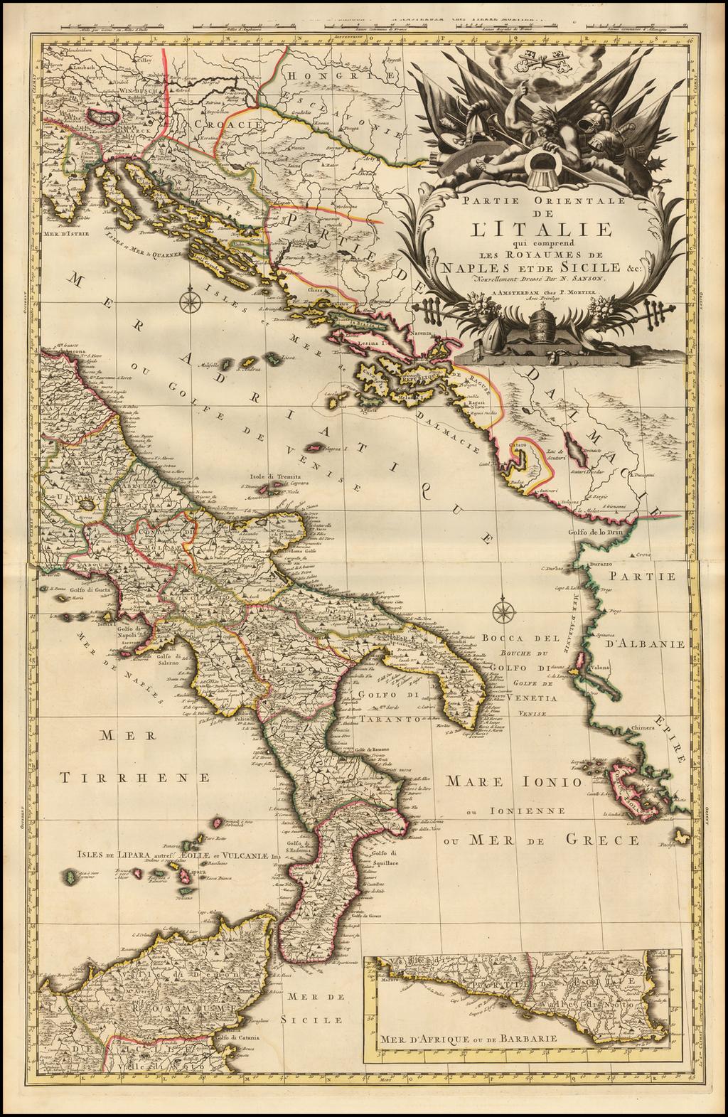 Partie Orientale de L'Italie qui comprend les Royaumes de Naples et de Sicile &c: Nouvellement Dresse Par N. Sanson. By Pieter Mortier