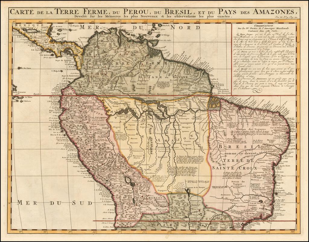 Carte de la Terre Ferme du Perou, du Bresil, et du Pays des Amazones . . . . By Henri Chatelain