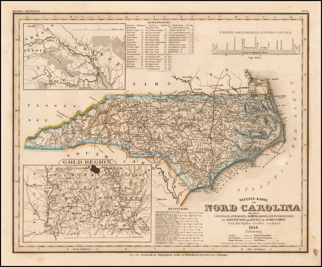Neueste Karte von Nord Carolina mit seinen Canaelen, Strassen, Eisenbahnen, Entfernungen….1845 By Joseph Meyer