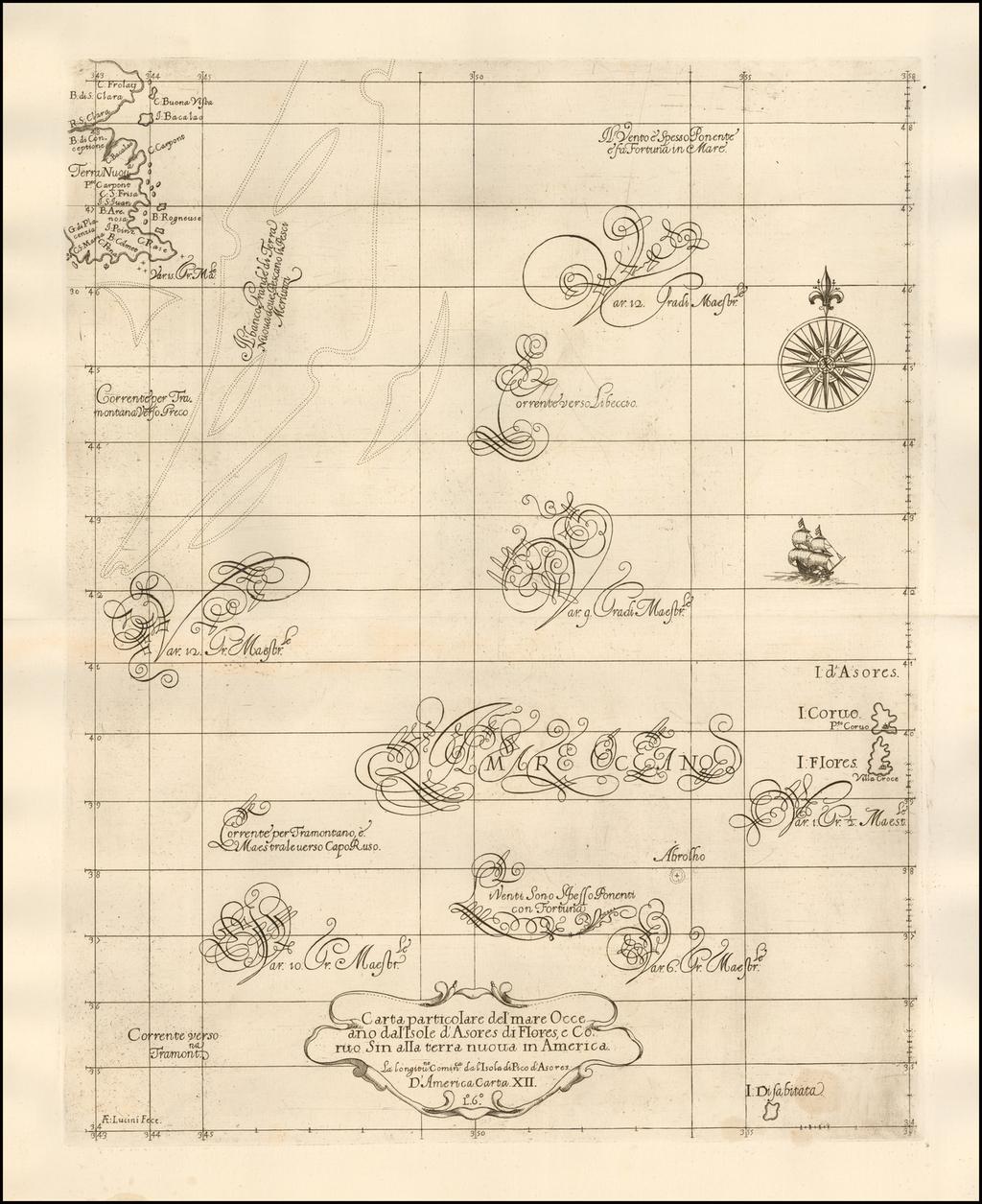 Carta particolare del' mare Occeano dal'Isole d'Asores di Flores, e Coruo Sin alla terra nuova in America By Robert Dudley