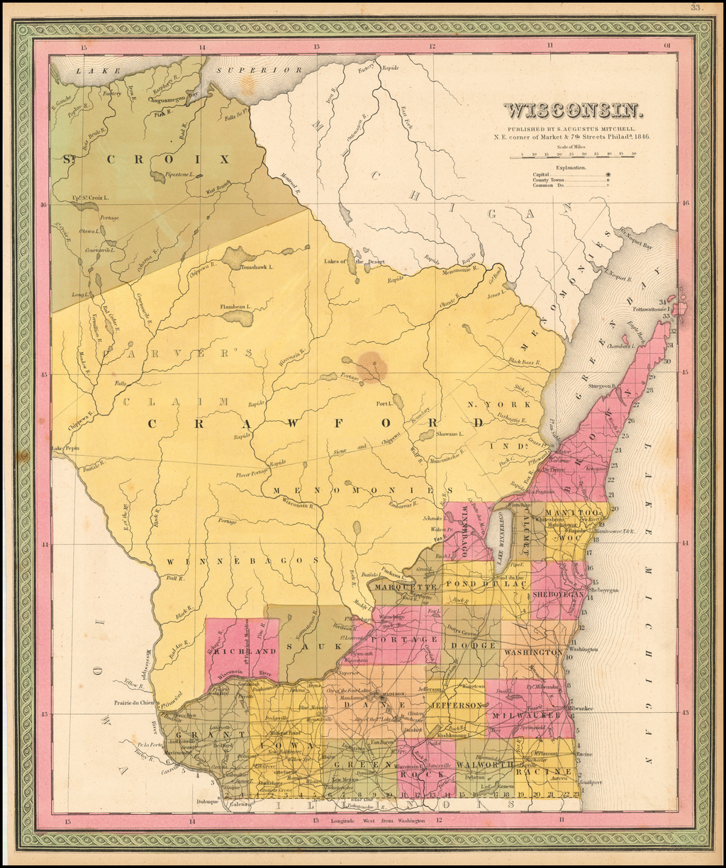 Wisconsin . . . 1846 By Samuel Augustus Mitchell