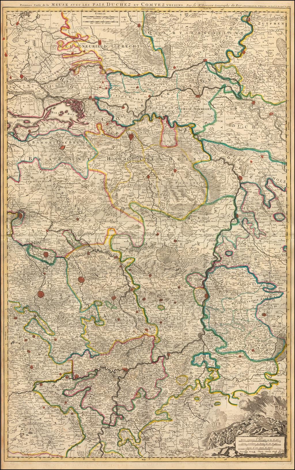 Premiere Carte de la Meuse avec les Pais, Duchez et Comtez voisins. By Pieter Mortier