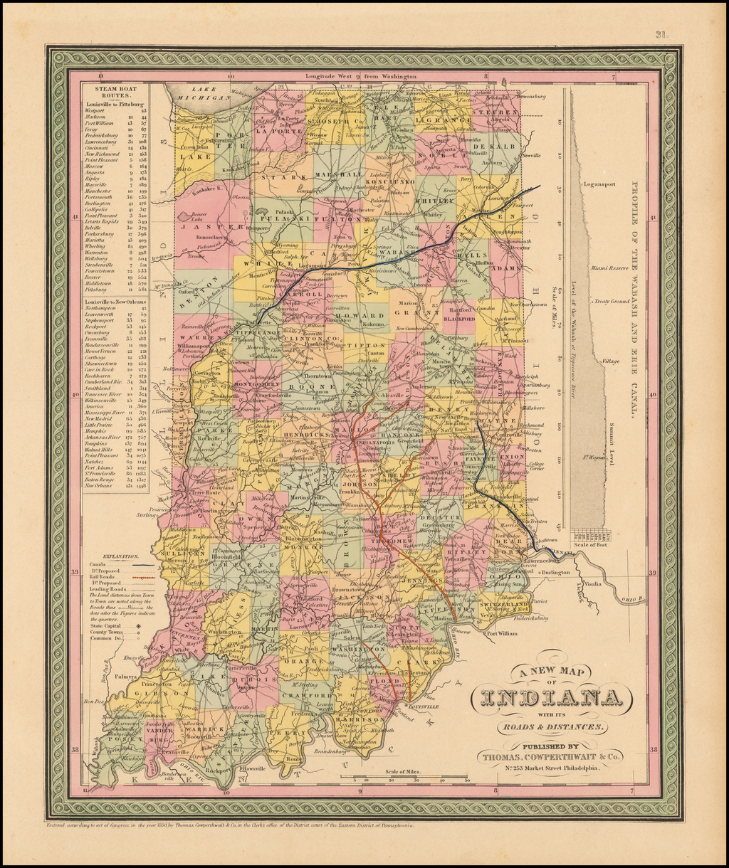 A New Map of Indiana with its Roads & Distances. Published By Thomas, Cowperthwait Co. By Thomas, Cowperthwait & Co.