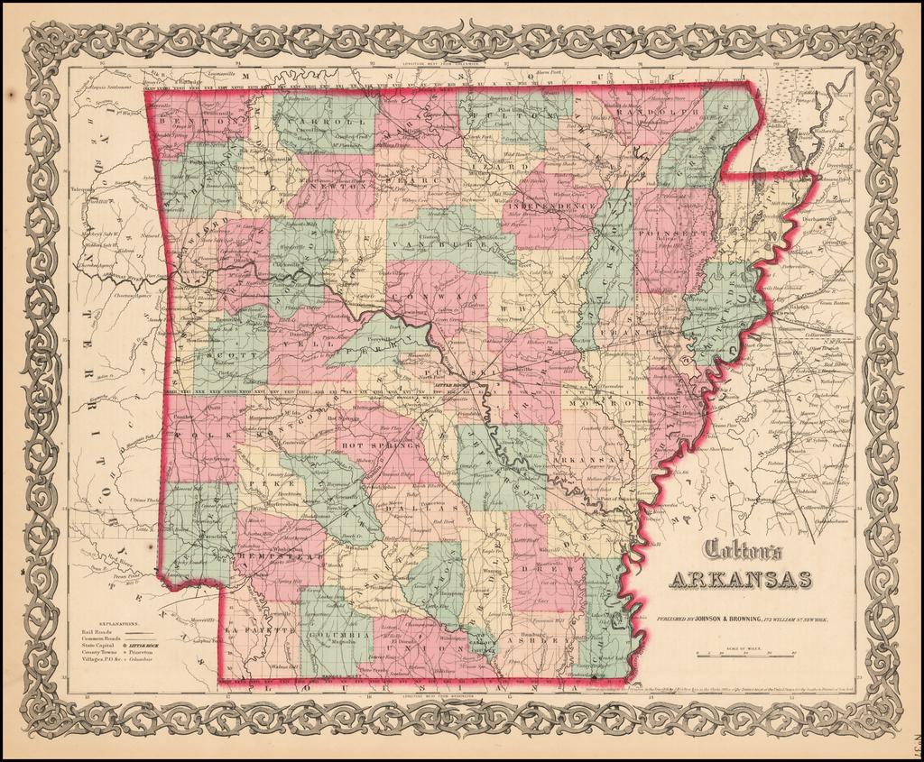 Colton's Arkansas By Joseph Hutchins Colton