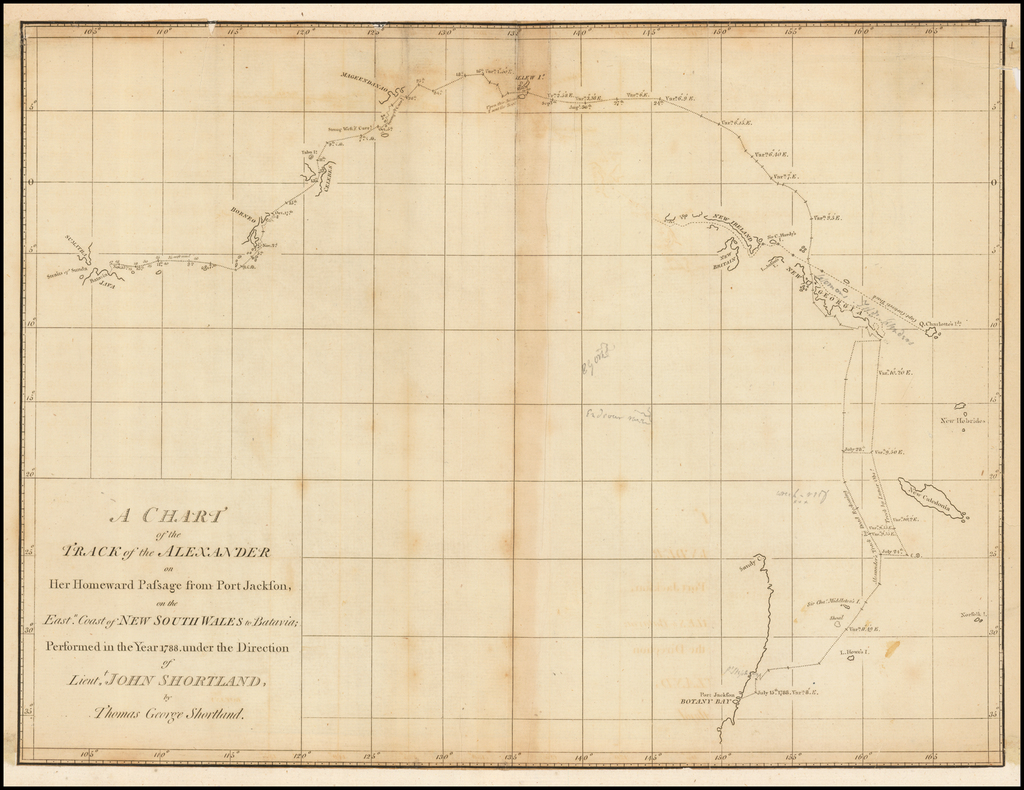 A Chart of the Track of the Alexander on Her Homeward Passage from Port Jackson, on the East Coast of New South Wales to Batavia; Performed in the Year 1788, under the Direction of Lieut. John Shortland, by Thomas George Shortland By Thomas G. Shortland