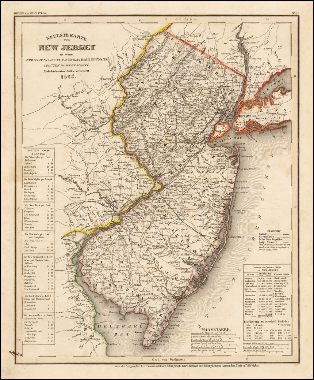 Neueste Karte von New Jersey . . .  1846 By Joseph Meyer