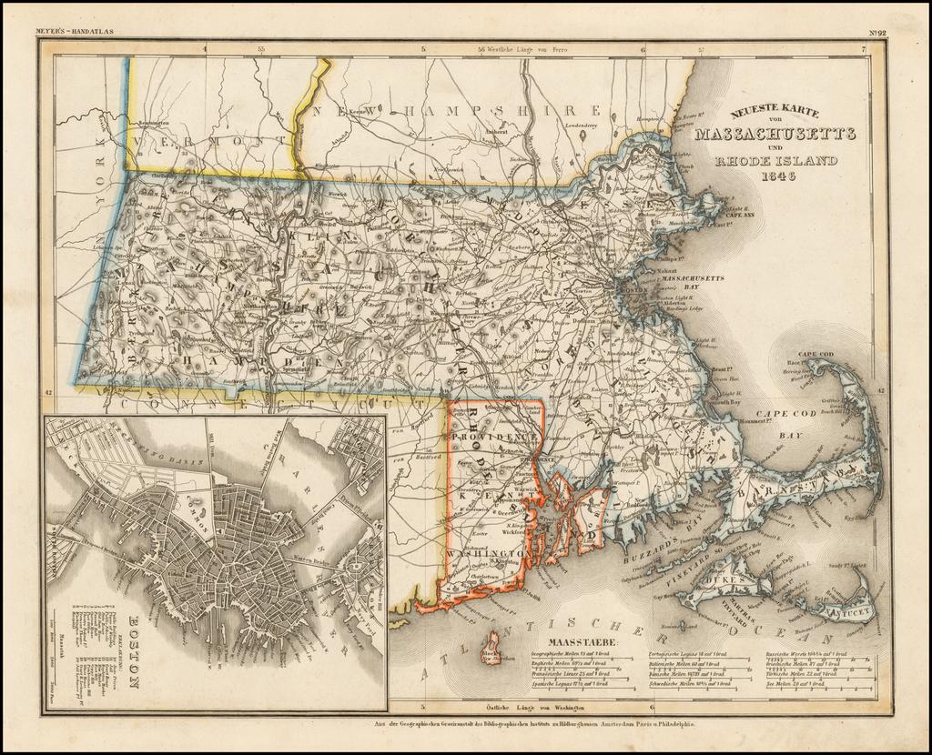 Neueste Karte von Massachusetts und Rhode Island 1846 By Joseph Meyer