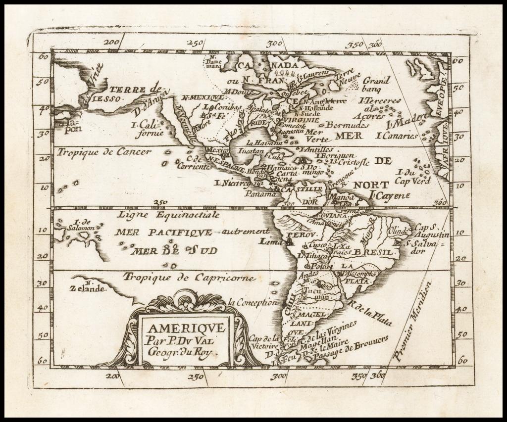 Amerique Par P Du Val Geogr. du Roy By Pierre Du Val
