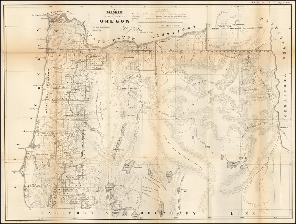A Diagram of Public Surveys in Oregon…1862 By U.S. General Land Office Survey