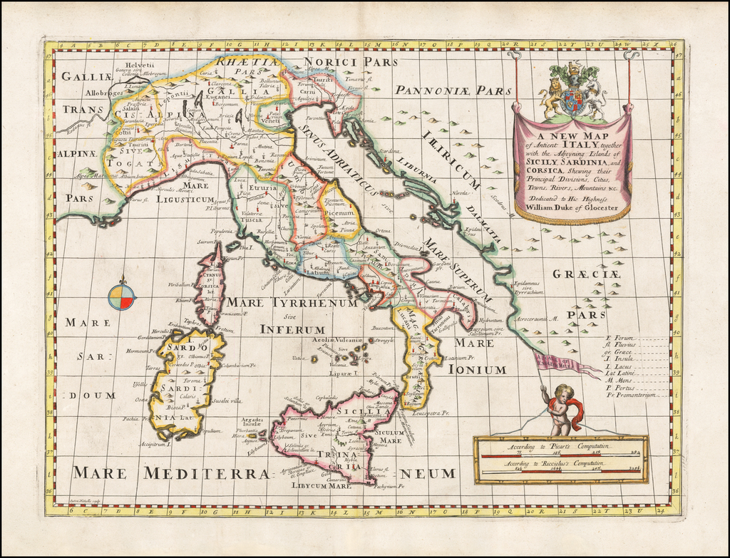 A New Map of Antient Italy, together with the Adjoying Islands of Sicily, Sardinia, and Corsica, Shewing their Present General Divisions. . . By Edward Wells