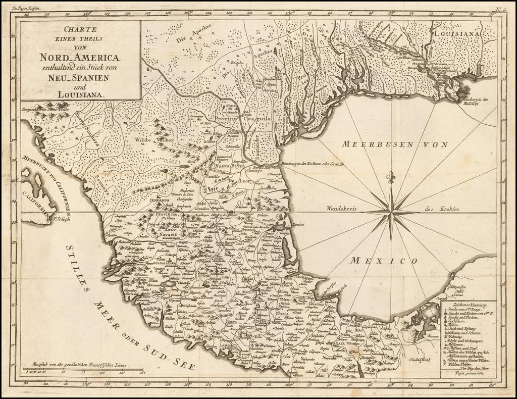 Charte Eines Theils Von Nord-America enthaltend ein Stuck von Neu-Spanien und Louisiana By Pierre de Pages