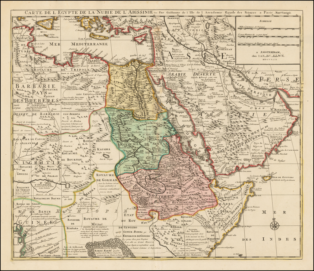 Carte de l'Egypte de la Nubie de l'Abissinie . . . MDCCXCII By Jan Barend Elwe