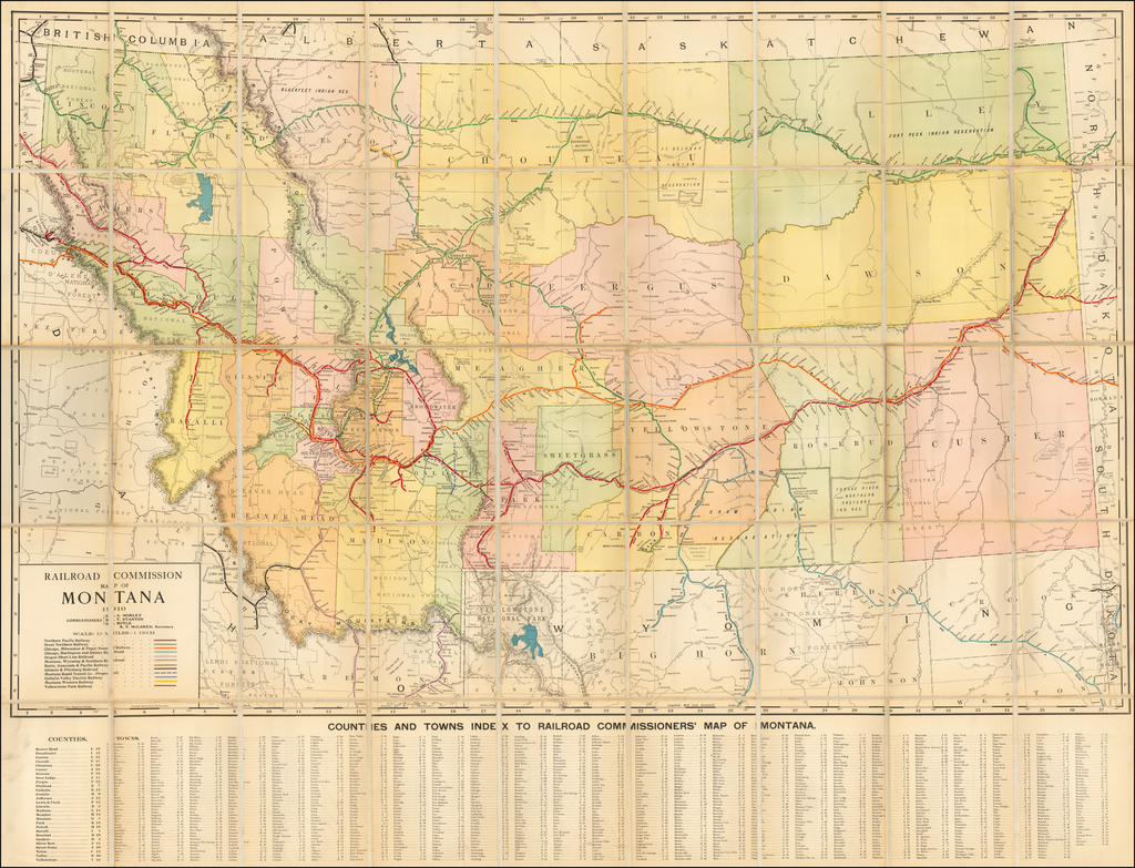 Railroad Commission Map of Montana  1910. . . (Case Map) By Rand McNally & Company / Montana Railroad Commission