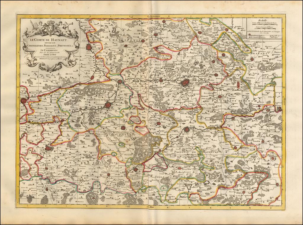 Le Comte de Haynaut, Divise en Chatellenies, Balliages, Prevostes & c. -- Le Cambresis . . .  By Pieter Mortier
