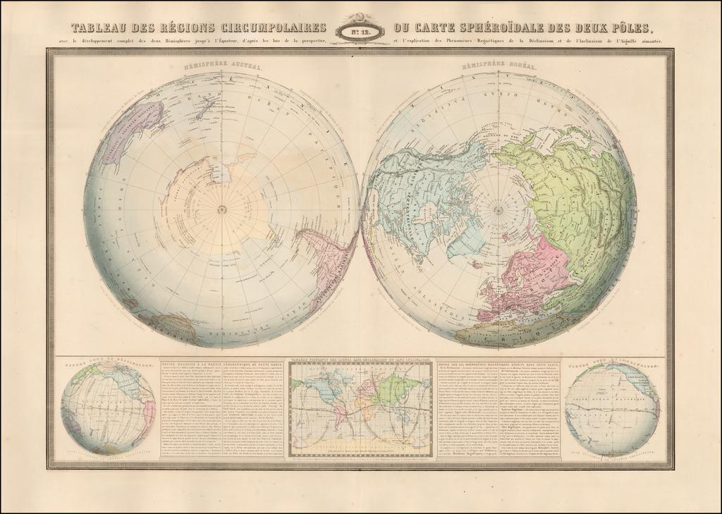 Tableau Des Regions Circumpolaires Ou Carte Spheroidale Des Deux Poles . . . 1860 By F.A. Garnier