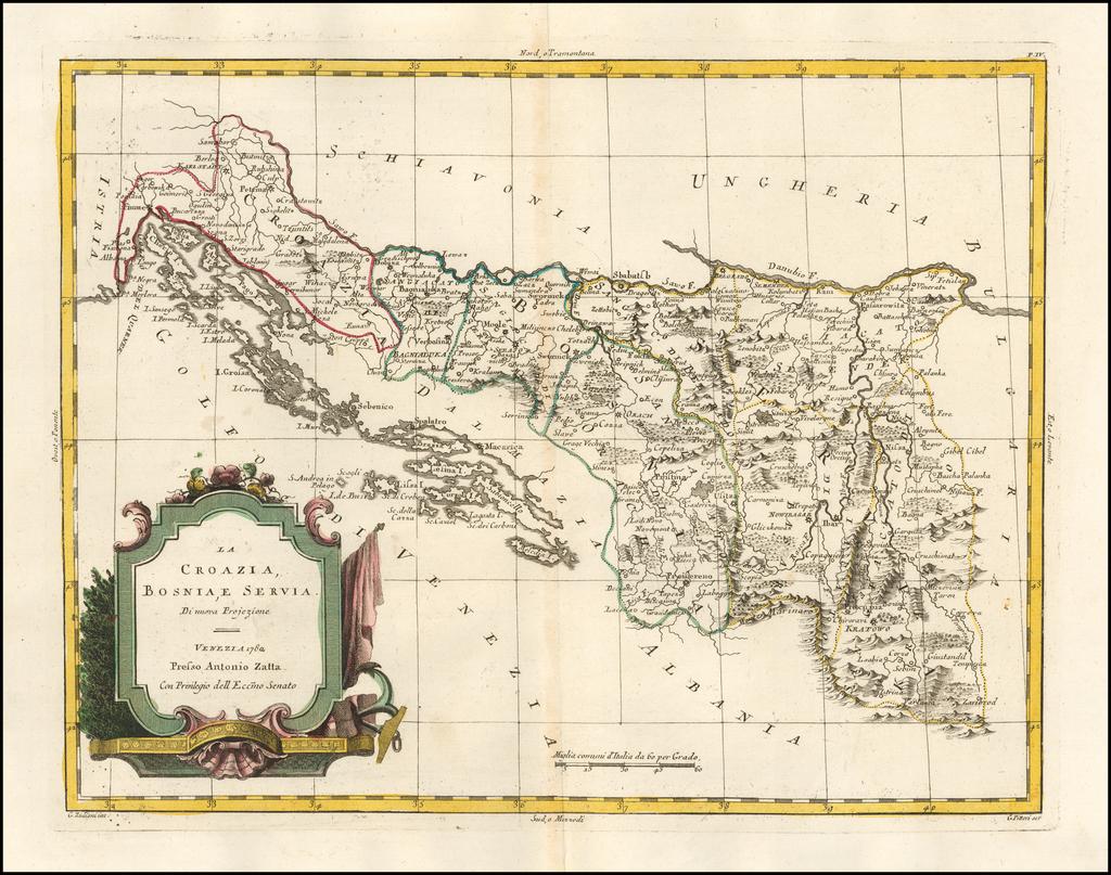 La Croazia, Bosnia, e Servia Di nuova Projezione . . . 1782 By Antonio Zatta